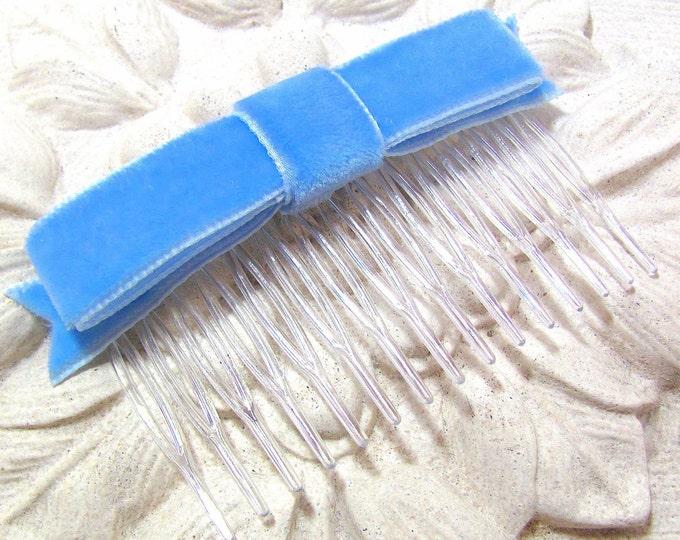 Cornflower Blue Velvet Ribbon Bow Hair Clip OR Hair Comb