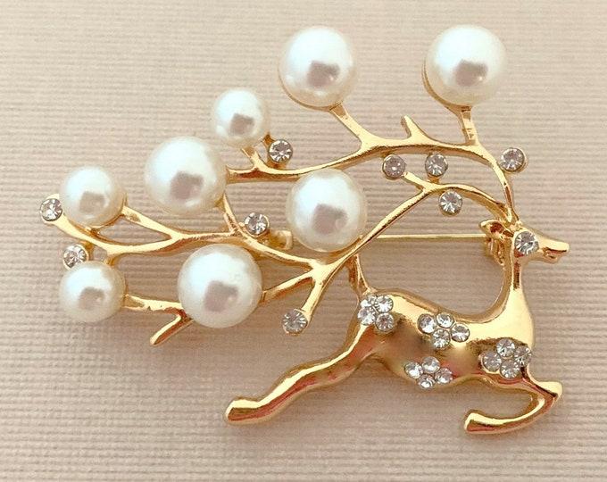 Gold & Pearl Reindeer Brooch Pin