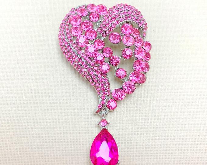 Pink Heart Rhinestone PENDANT