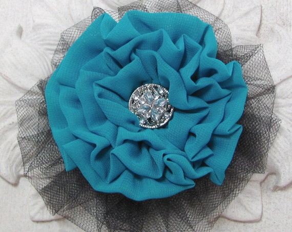 Teal & Black Flower Brooch Pin and/or Hair Clip. Choose button/bead finish.