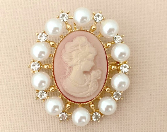 Pink & Gold Cameo Brooch Pin and Pendant