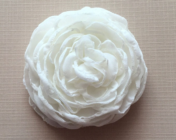 Ivory Fabric Flower Hair Clip, Brooch/Pin, Hair Comb, or Hair Pin. Handmade.