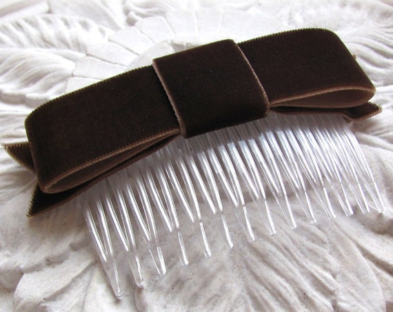 Brown Velvet Bow Hair Clip or Hair Comb. Choose your finish.