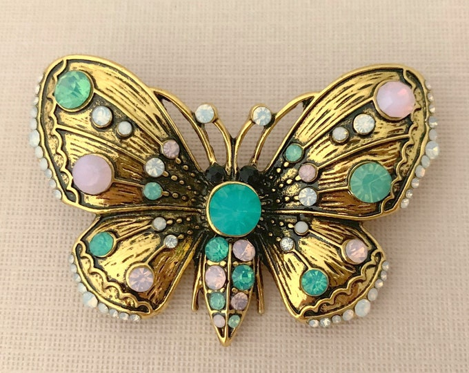Antique Style Rhinestone Butterfly Brooch Pin