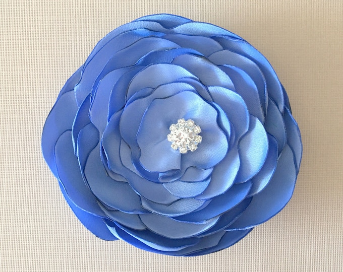 Periwinkle Fabric Flower Hair Clip or Brooch Pin. Choose your size and button/bead finish. Handmade.