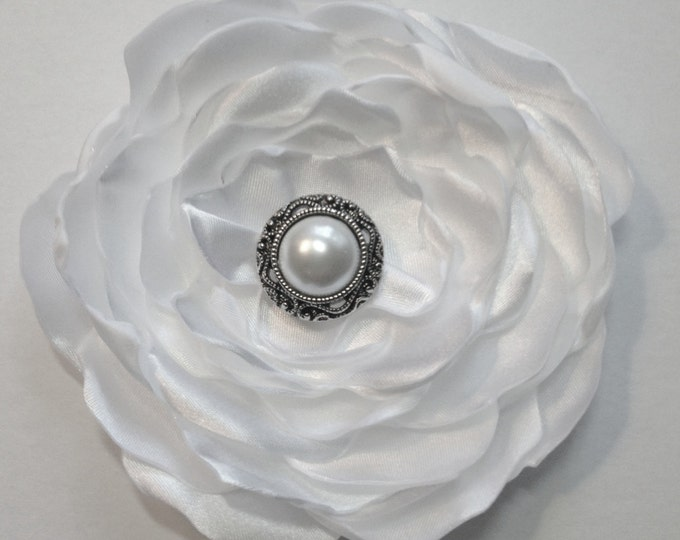 White Satin Flower Brooch Pin or Hair Clip. Choose your size and button/bead finish. Handmade.