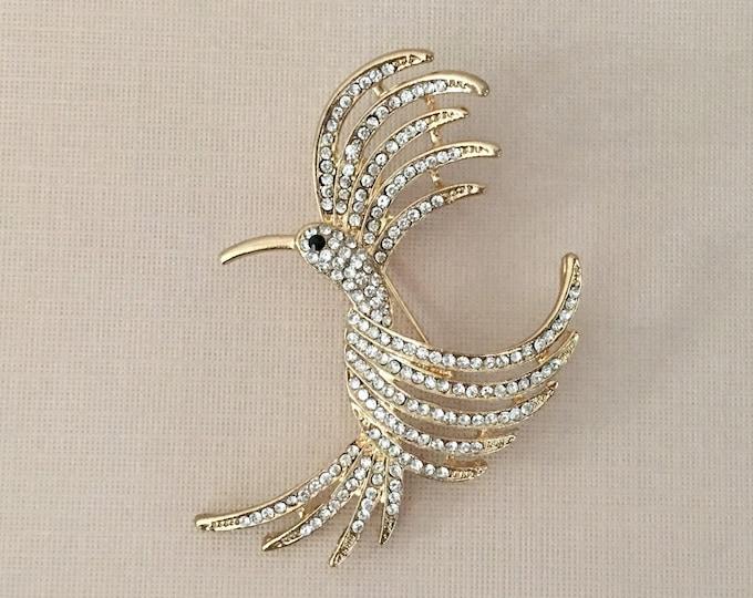 Gold Phoenix Rhinestone Brooch Pin