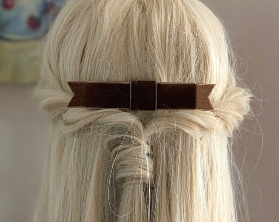 Brown Velvet Ribbon Bow Hair clip