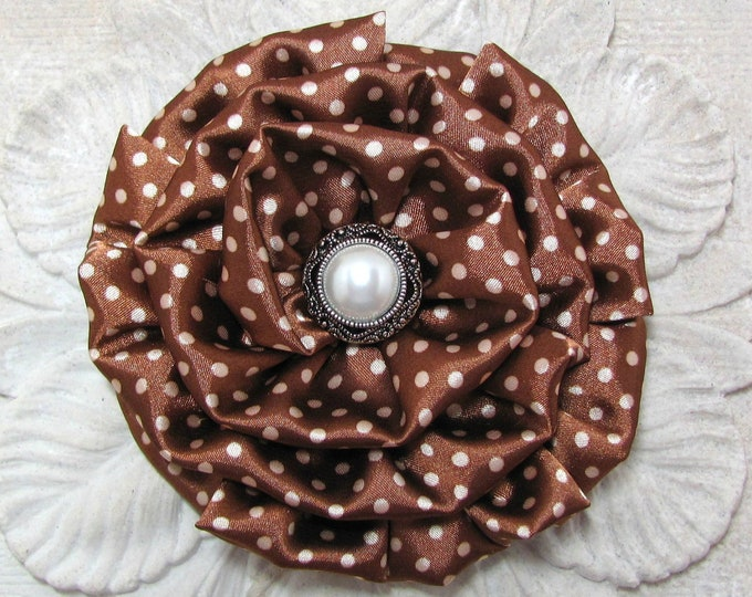 Brown Ivory Polka Dot Fabric Flower Hair Clip and/or Brooch Pin. Choose your button/bead finish. Handmade.