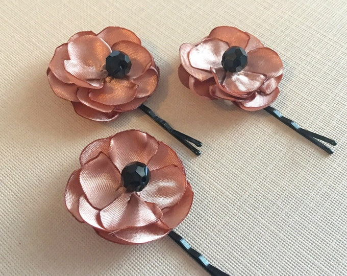 Black & Rose Gold Small Fabric Flower Hair Pins. Handmade. Set of 2 or 3.