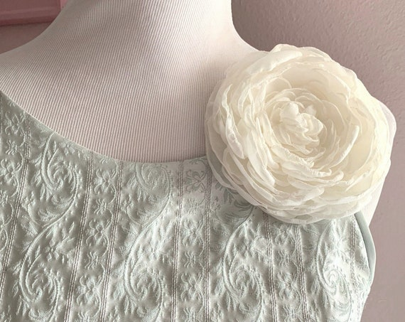 Large Ivory Fabric Flower Brooch Pin