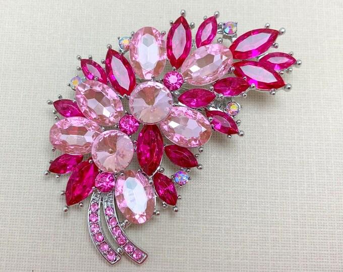 Fuchsia Pink Rhinestone Brooch Pin