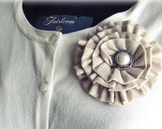 Muslin Flower Brooch Pin or Hair Clip. Choose button/bead finish. Handmade.