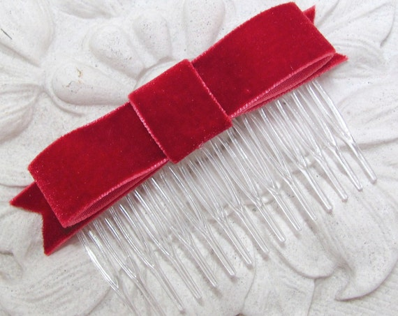 Ruby Red Bow Hair Comb.Ruby Red Velvet Bow.SALE.Ruby Red Velvet Hair Clip.Ruby Red Velvet Hair Bow.CLEARANCE.Ruby Red Hair Piece.French