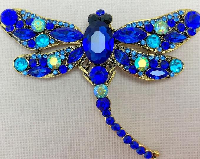 Royal Blue Dragonfly Rhinestone Brooch Pin and Pendant