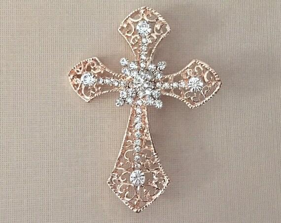 Rose Gold & Rhinestone Cross Brooch Pin
