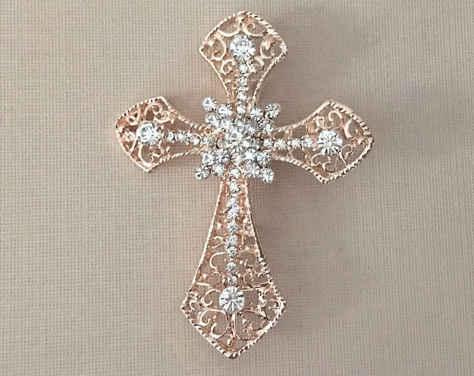 Rose Gold & Rhinestone Cross Brooch Pin
