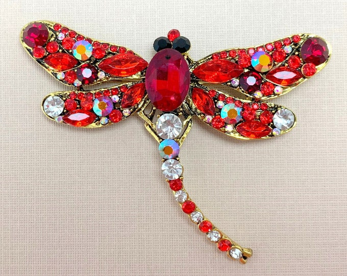 Vintage Style Red Dragonfly Brooch Pin & Pendant