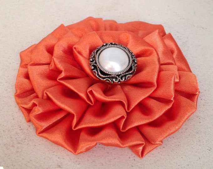 Orange Fabric Flower Brooch Pin and/or Hair Clip. Choose button/bead finish. Handmade.