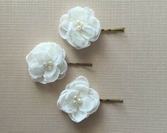 Handmade small ivory chiffon fabric flower hair pins. Set of 3