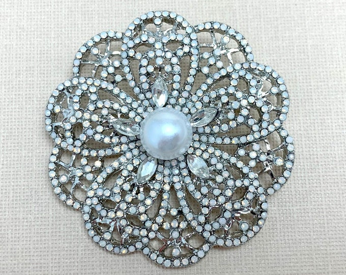 Faux Moonstone Flower Brooch Pin