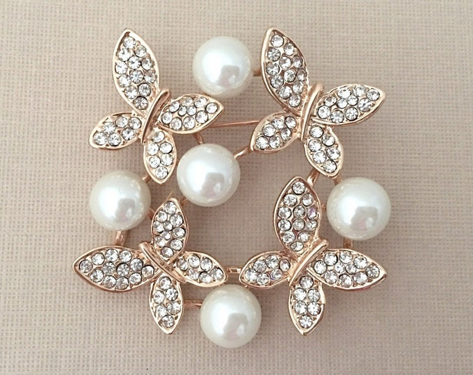 GOLD Pearl Butterfly Brooch Pin