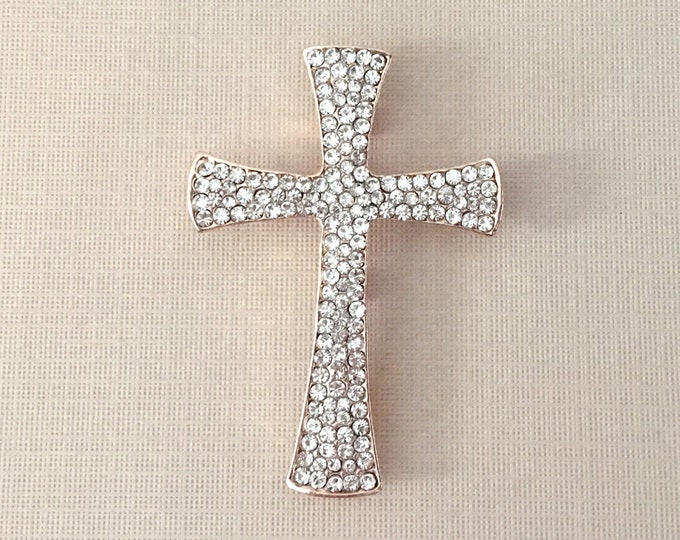 Rose Gold Rhinestone Cross Brooch Pin