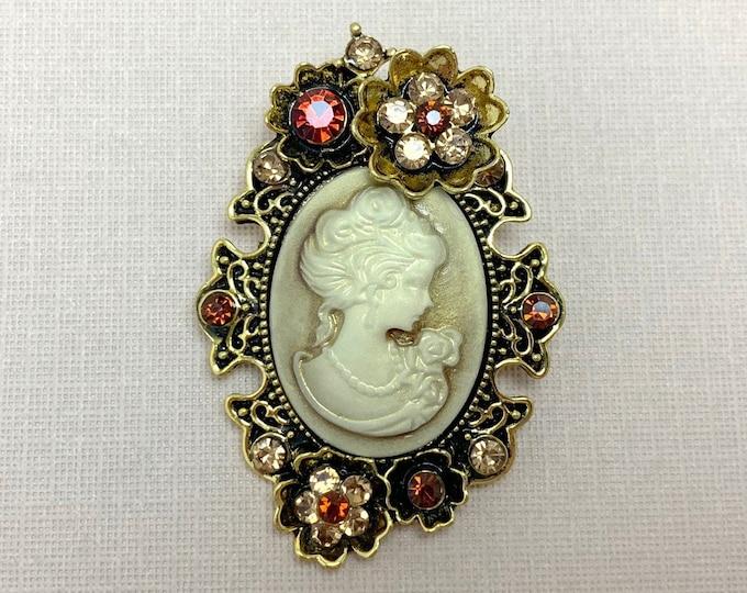 Antique Gold Cameo & Topaz Rhinestone Brooch Pin