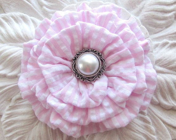 Light Pink Seersucker Flower Hair Clip and/or Brooch Pin. Choose your button/bead finish. Handmade.