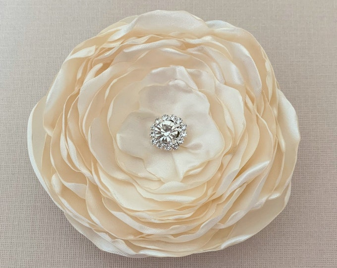 Cream Bridal Brooch Pin and/or Hair Piece. Choose size and button finish. Handmade.