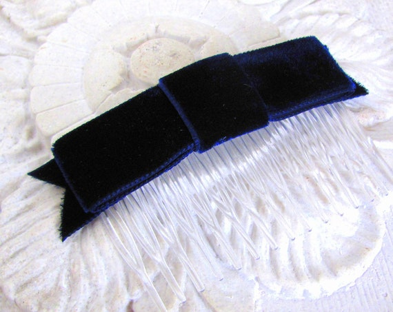 Navy Blue Velvet Bow Hair Comb