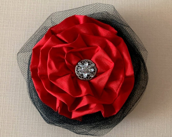 Black & Red Flower Hair Clip and/or Brooch Pin. Choose your button/bead finish. Handmade.