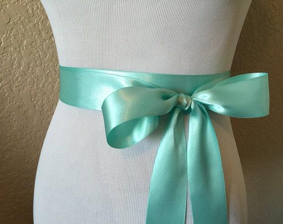 Aqua Blue Satin Ribbon Sash