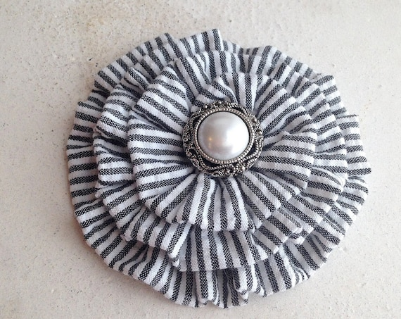 Black Seersucker Fabric Flower Hair Clip and/or Brooch Pin. Choose your button/bead finish. Handmade.