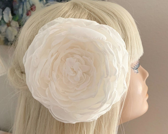 Large Ivory Chiffon Fabric Flower Hair Clip or Hair Comb. Extra Large Flower. Handmade.