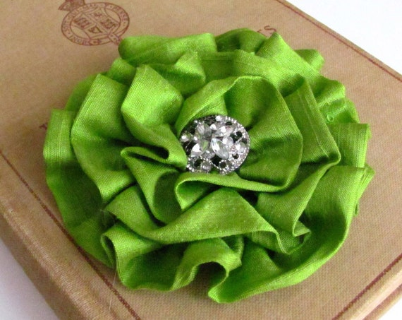Pistachio Green Flower Brooch Pin and/or Hair Clip. Choose button/bead finish. Handmade.