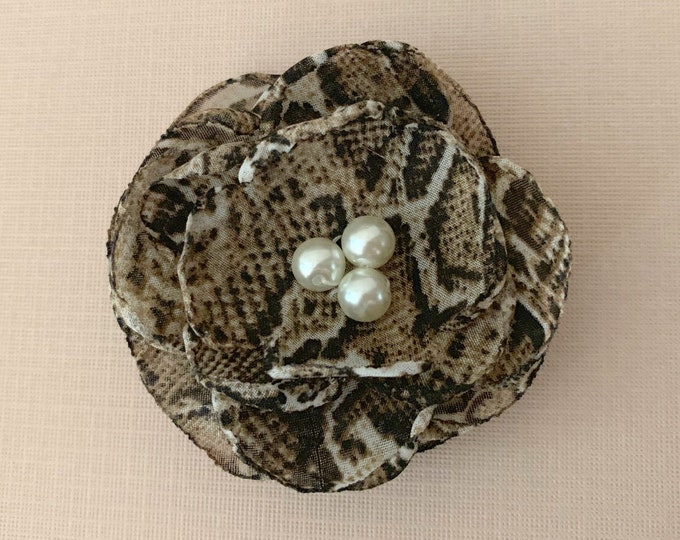 Snakeskin Flower Hair Clip or Brooch Pin. So fashionable! Choose button/bead finish. Handmade.