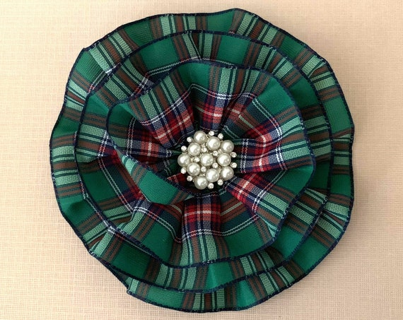 Green Tartan Plaid Flower Hair Clip or Brooch Pin