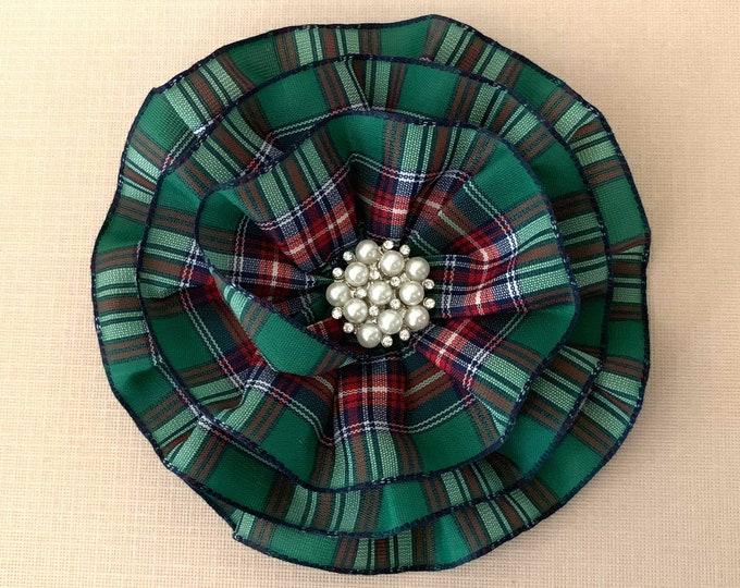 Green Tartan Plaid Flower Hair Clip or Brooch Pin