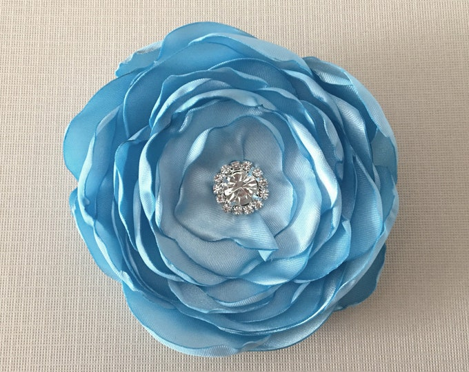 Light Blue Satin Flower Hair Clip or Brooch Pin. Choose your size and button/bead finish. Handmade.