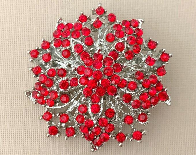 Red Rhinestone Flower Brooch Pin