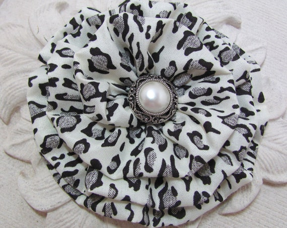 Large Black Leopard Flower Brooch Pin and/or Hair Clip. Choose your button/bead finish.