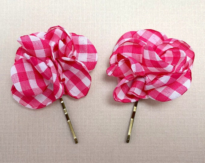 Small Pink & White Gingham Hair Pins