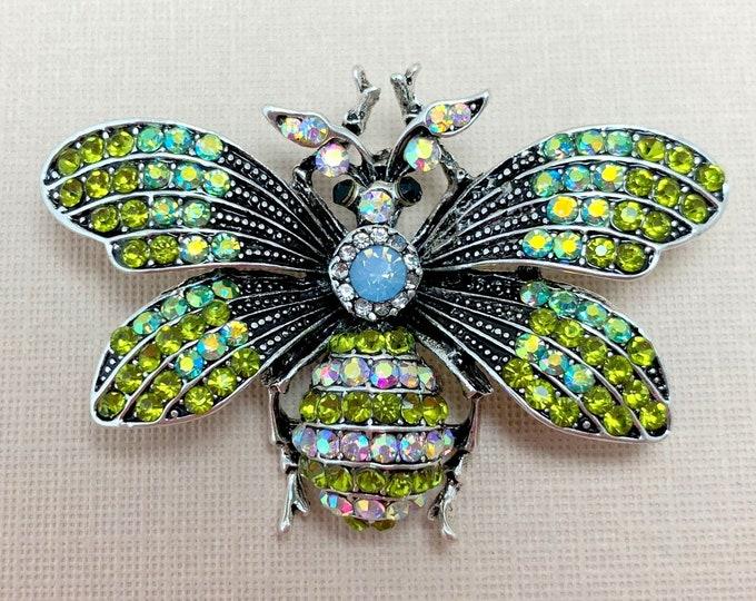 Green Rhinestone Bee Brooch Pin & Pendant