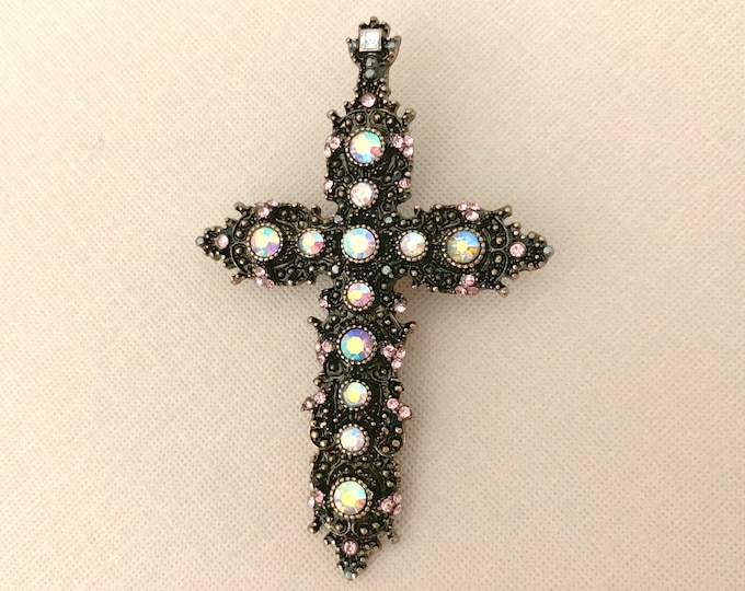 Light Pink Cross Brooch Pin & Pendant