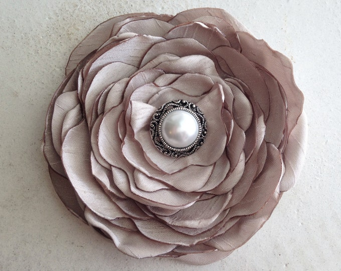 Champagne Flower Hair Clip or Brooch Pin. Choose your size and button/bead finish. Handmade.