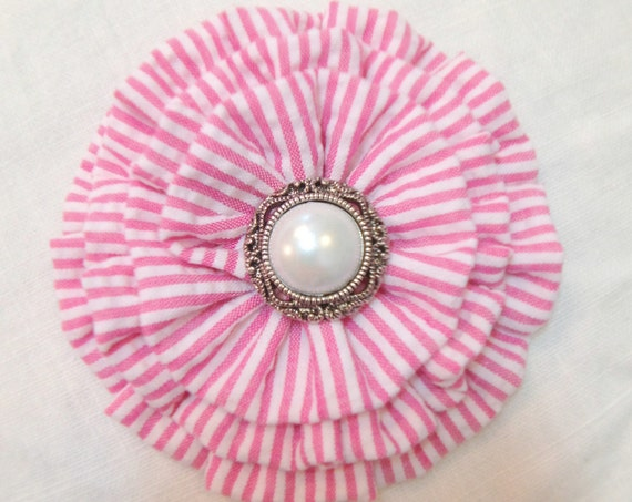 Hot Pink & White Seersucker Brooch Pin and/or Hair Clip. Choose your button/bead finish. Handmade.