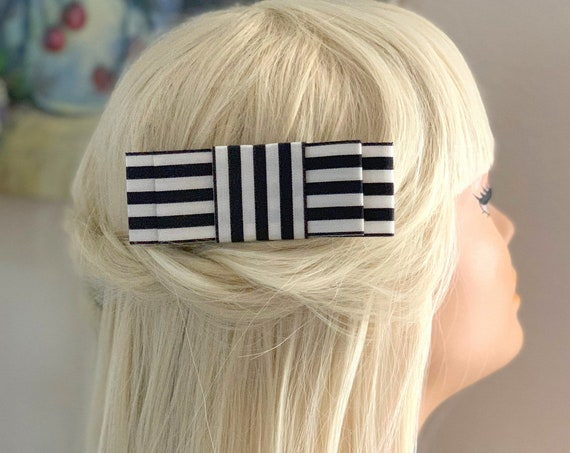 Black & Ivory Striped Bow Barrette or Hair Clip. Choose your finish.