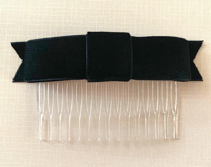 Black Velvet Ribbon Bow Hair Comb