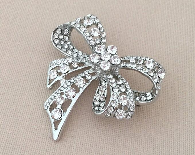 Silver & Rhinestone Bow Brooch Pin